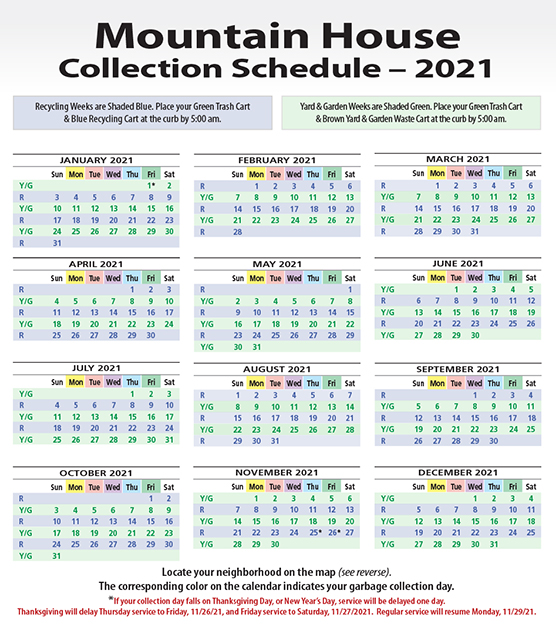 Collection Schedule Calendar